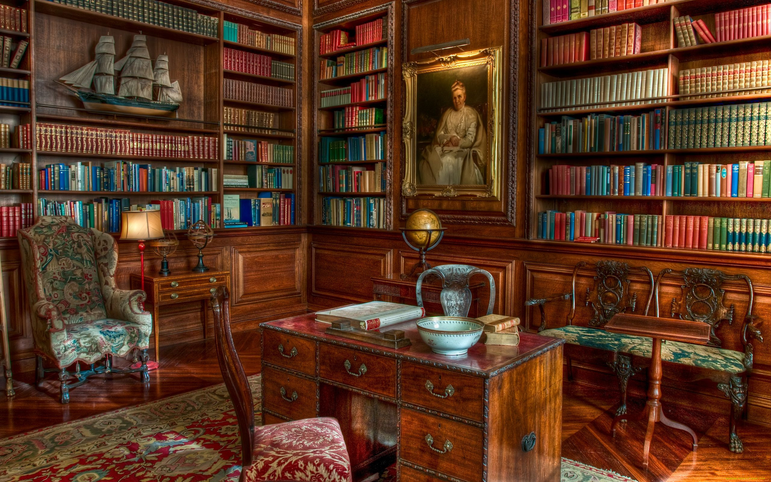 Interior houses with libraries hd wallpaper beautiful librar.